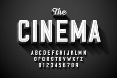 Old movie title vintage font. Design, retro style alphabet letters and numbers stock illustration