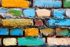 Old multi colored brick wall stock photo