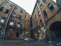 Old multi-storey abandoned house Royalty Free Stock Image