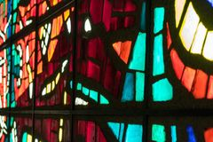 Old multicolored stained glass. Window Stock Images