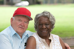 Old multiracial couple in love Royalty Free Stock Photos