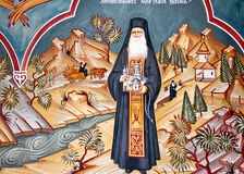 Old mural. Fresco of Saint Andrew Romanian monastery, taken at tour Royalty Free Stock Image