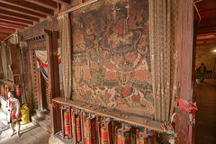 Old mural at Buddhist monastery wall. China Royalty Free Stock Photos