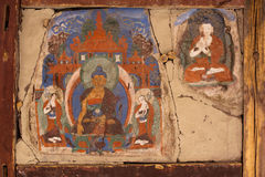 Old mural at Buddhist monastery wall. India Stock Image