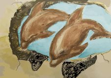 Old mural with dolphins Royalty Free Stock Photo