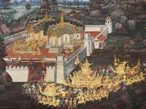 Old mural is the story of ramakian on wall from Wat Phra kaew Stock Images