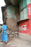 Old murals with Coca Cola in Ethiopia. Narrow streets off the main road in Gonder, a historical town in central Ethiopia, Africa. Old advertisements of Coca Cola Stock Photography