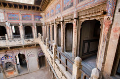 Old murals inside the historical house in Rajasthan Royalty Free Stock Photos