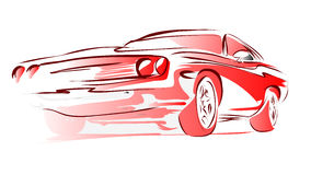 Old Muscle Car, Vector Outline Colored Sketch Stock Images