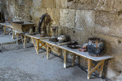 Old museum exhibits. In Caravanserai Sultanhani in Turkey Royalty Free Stock Photography