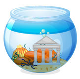 An old museum inside the aquarium. Illustration of an old museum inside the aquarium on a white background Royalty Free Stock Photo