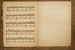 Old music book. Opened, studio snot Royalty Free Stock Photo
