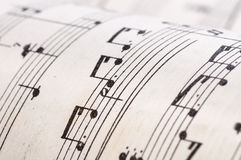 Old music notes. Clouse up Royalty Free Stock Photo