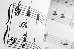 Old music notes. Close up Stock Images
