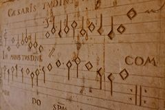 Old music notes. Engraved in stone Royalty Free Stock Images