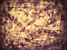 Old music notes on old paper sheet background Royalty Free Stock Images