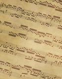 Old music on parchment Stock Photo