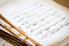 Old music score. A pile of old music score royalty free stock photography