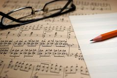 Old music sheet. Royalty Free Stock Photos