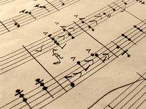 Old Music Sheet. Closeup of music sheets on an old paper royalty free stock images