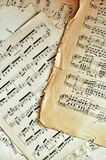 Old music sheet pages background. Old music sheet pages. Ancient grunge note sheets Royalty Free Stock Photo