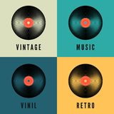 Old music vinyl record set in retro colors. Album covers template. Vector illustration.  stock illustration