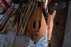 Old musical instruments. Musical instruments made of wood royalty free stock image