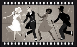 Old musical movie. People in retro stile costumes dancing in an old movie frame, EPS 8 vector illustration, no transparencies Royalty Free Stock Photography