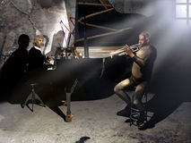Old musicians. An old trumpeter and an old pianist together playing their music in a dark old room Royalty Free Stock Photo
