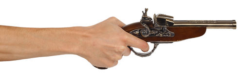 Old musket gun in male hand Royalty Free Stock Photos