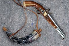 Old musket & powder horn Royalty Free Stock Photography