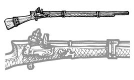Old musket. Vector black and white illustration of old musket stylized as engraving Royalty Free Stock Photography