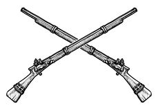 Old musket. Vector black and white illustration of old musket stylized as engraving Royalty Free Stock Photo
