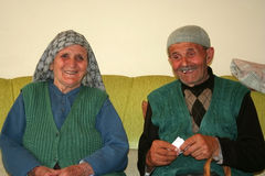 Old muslim couple. Together smiling in an happy mood Royalty Free Stock Photos
