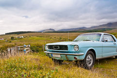 Old mustang car on countryside panorama Royalty Free Stock Image