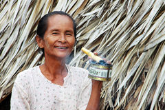 Old Myanmar woman smoking Stock Images