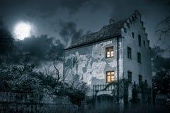Old mystic villa in moonlight Royalty Free Stock Image