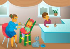 Old nanny feeding kid. In the kitchen modern illustration Royalty Free Stock Image