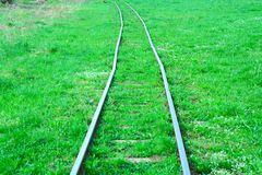Narrow gauge railway. Old narrow-gauge railroad on the grass cover Royalty Free Stock Photo