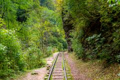 Old narrow gauge railway in mountain region