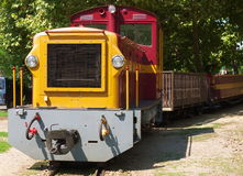 Old narrow gauge train. Old narrow gauge railway engine and train Stock Photos