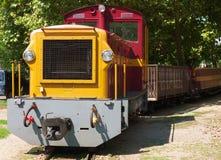 Old narrow gauge train. Old narrow gauge railway engine and train stock photos