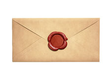 Old narrow letter envelope with red wax seal isolated Royalty Free Stock Image
