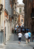 Old and narrow Pettinari street in Rome Royalty Free Stock Photography