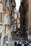 Old and narrow Pettinari street in Rome. Royalty Free Stock Photography