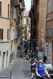 Old and narrow Pettinari street in Rome. Royalty Free Stock Images