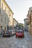 Old narrow Pope John XXIII street in Rimini, Italy. Stock Images