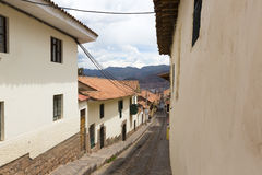 Old narrow street in the center of Cusco Peru Stock Images