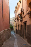 Old narrow street of Cuenca Stock Photography