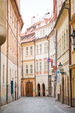 Old narrow street in Europe. District of the city of Prague, Czech Republic, and one of its most historic regions. Stock Images